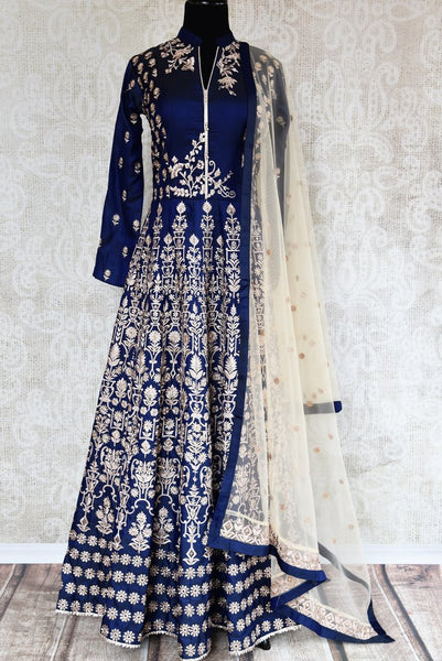 Buy royal blue embroidered floor length Anarkali suit online in USA. The beautiful ensemble is a stunning choice for weddings and parties. Get floored by an exquisite collection of Indian wedding dresses in USA available at Pure Elegance clothing store or shop online.-full view