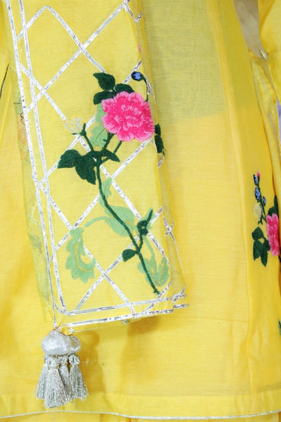 Lemon yellow embroidered sharara suit with dupatta buy online in USA. A beautiful choice for a striking ethnic Indian look at special occasions. Add latest Indian designer dresses to your ethnic wardrobe available at Pure Elegance Clothing store in USA for women.-details