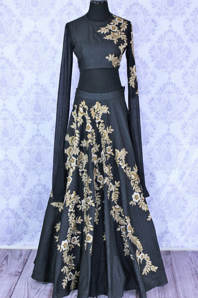 Gorgeous black embroidered designer lehenga buy online in USA. A stunning choice for a striking ethnic Indian look at weddings and special occasions. Dazzle in latest Indian designer wedding lehengas available at Pure Elegance Clothing store in USA for women.-full view