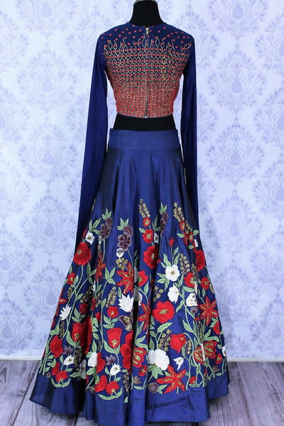 Beautiful blue embroidered designer lehenga buy online in USA. A stunning choice for a striking ethnic Indian look at weddings and special occasions. Dazzle in latest Indian wedding lehengas available at Pure Elegance Clothing store in USA for women.-back