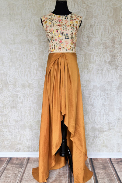 Buy yellow embroidered Indowestern silk dress online in USA. Make your Indian clothing collection exquisite with beautiful Indian designer dresses available at Pure Elegance clothing store in USA or shop online.-full view