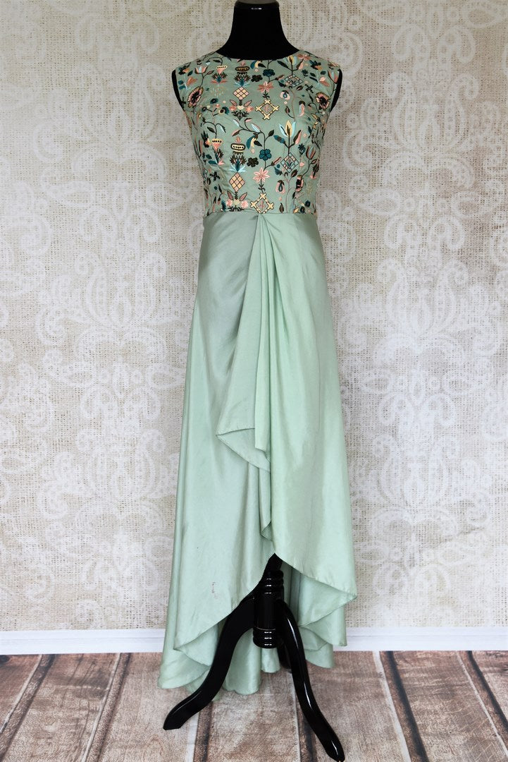 Buy pastel green embroidered Indowestern silk dress online in USA. Make your Indian clothing collection exquisite with beautiful Indian designer dresses available at Pure Elegance clothing store in USA or shop online.-full view