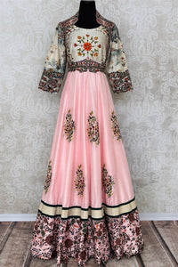 Buy beautiful pink printed and embroidered silk dress online in USA. Add brilliance to your Indian look with an exquisite range of designer dresses, suits available at Pure Elegance exclusive clothing store in USA or shop online-full view