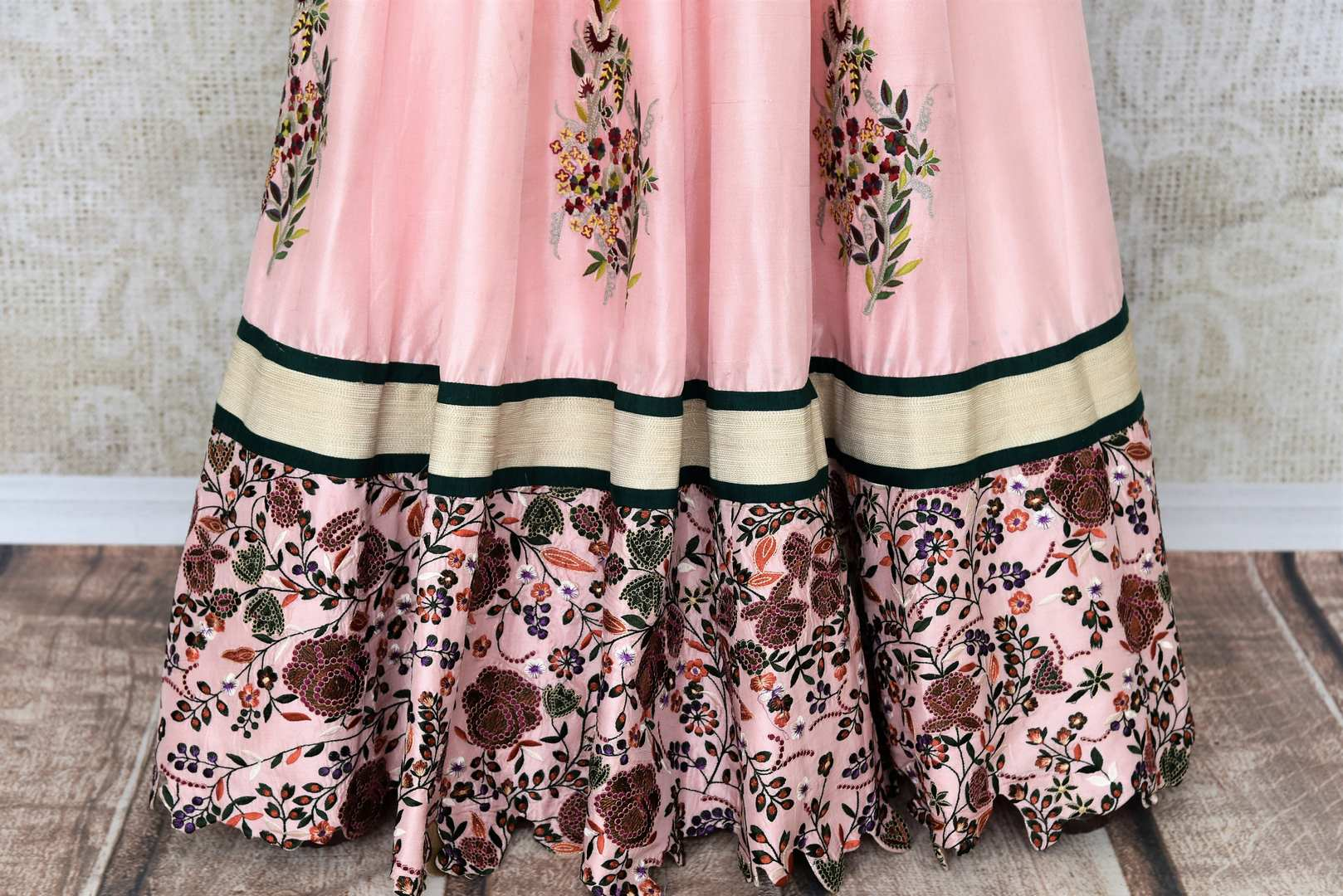 Buy beautiful pink printed and embroidered silk dress online in USA. Add brilliance to your Indian look with an exquisite range of designer dresses, suits available at Pure Elegance exclusive clothing store in USA or shop online-bottom