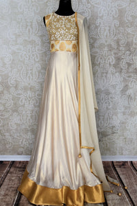 Buy classy off-white embroidered Banarasi silk suit with dupatta online in USA. Add brilliance to your Indian look with an exquisite range of designer dresses, Anarkali suits available at Pure Elegance exclusive clothing store in USA or shop online.-full view