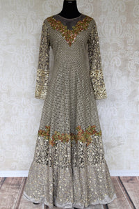 Buy grey thread embroidery net designer Anarkali suit online in USA. Make your Indian clothing collection exquisite with beautiful Indian designer Anarkali suits available at Pure Elegance clothing store in USA or shop online.-full view