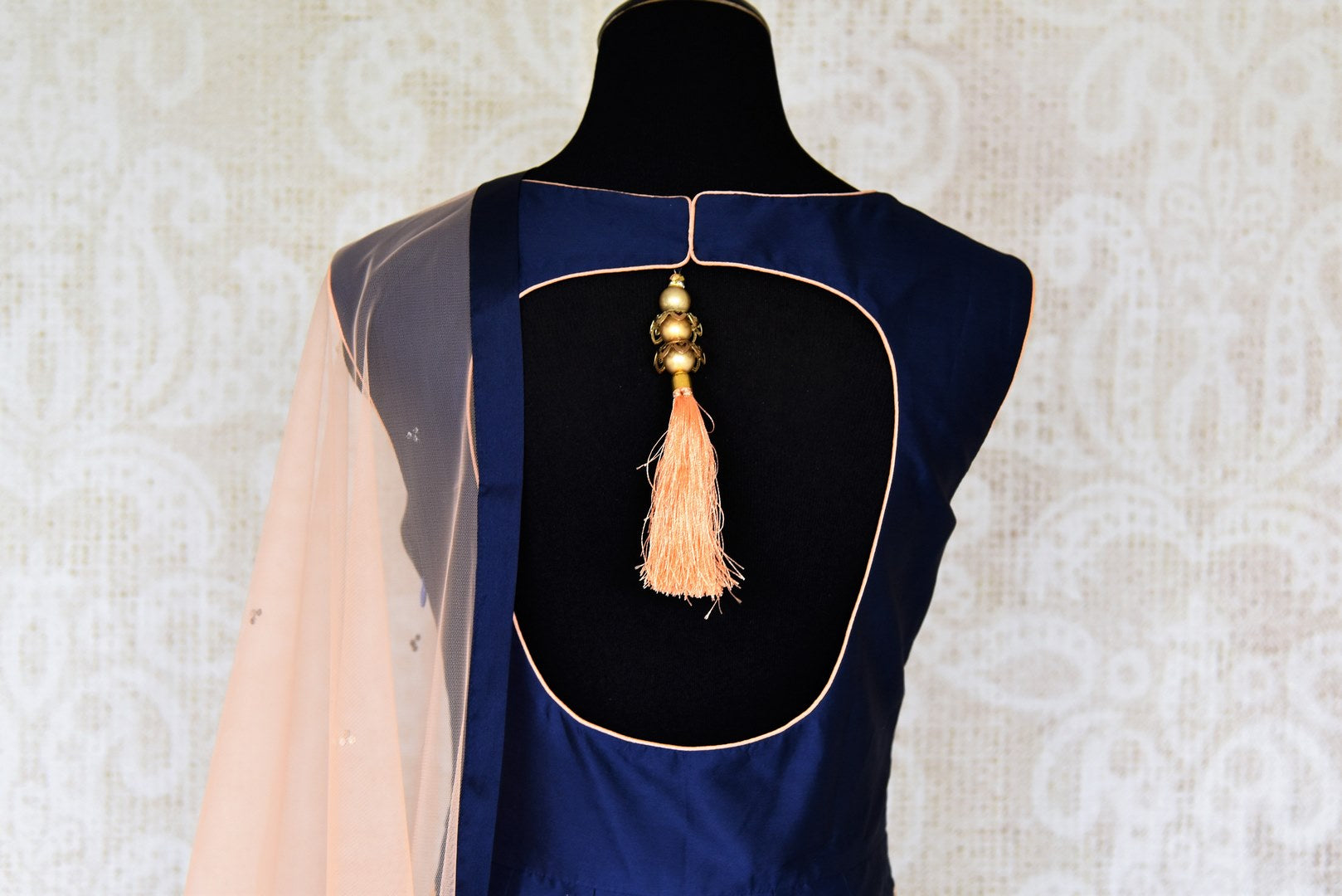 Buy blue thread embroidery silk Anarkali suit online in USA. Make your Indian clothing collection exquisite with beautiful Indian designer Anarkali suits available at Pure Elegance clothing store in USA or shop online.-suit back
