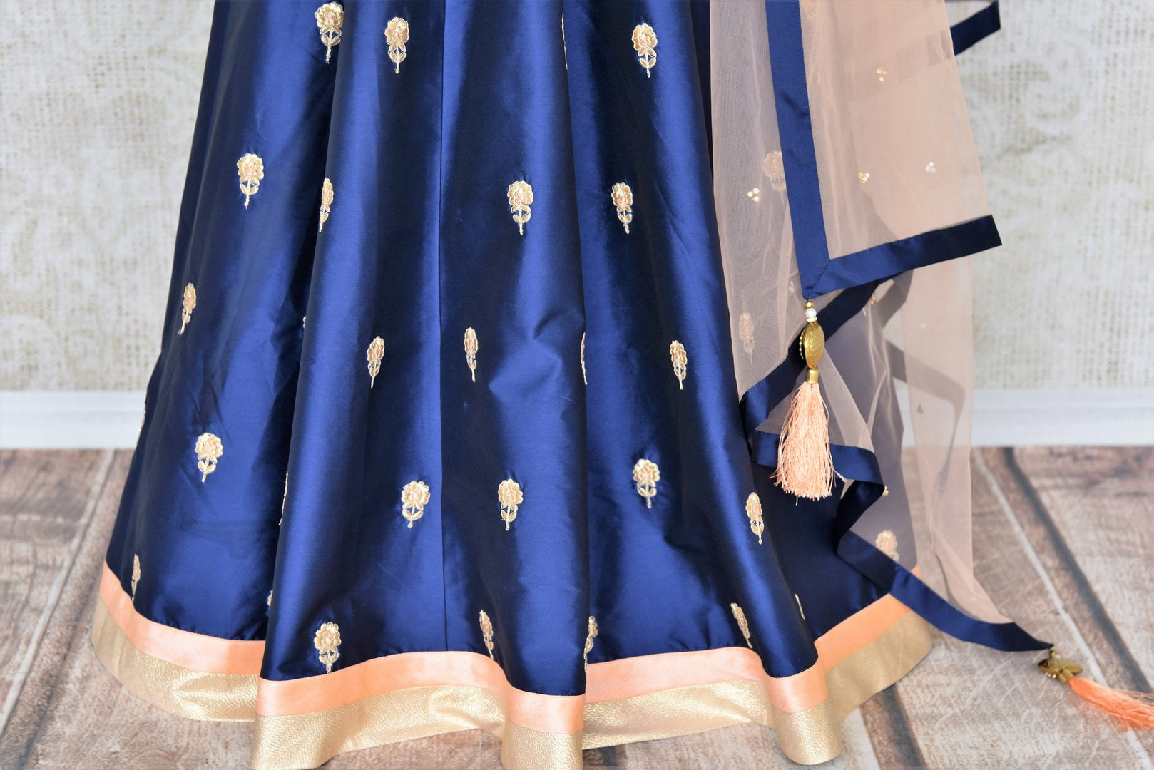 Buy blue thread embroidery silk Anarkali suit online in USA. Make your Indian clothing collection exquisite with beautiful Indian designer Anarkali suits available at Pure Elegance clothing store in USA or shop online.-suit bottom