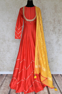 Buy orange gota patti embroidery chanderi silk Anarkali suit online in USA. Make your Indian clothing collection exquisite with beautiful Indian designer Anarkali suits available at Pure Elegance clothing store in USA or shop online.-full view