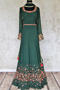 Buy dark green embroidered chiffon georgette Anarkali suit online in USA with dupatta. Make your Indian clothing collection exquisite with beautiful Indian designer dresses, Anarkali suits available at Pure Elegance clothing store in USA or shop online.-full view