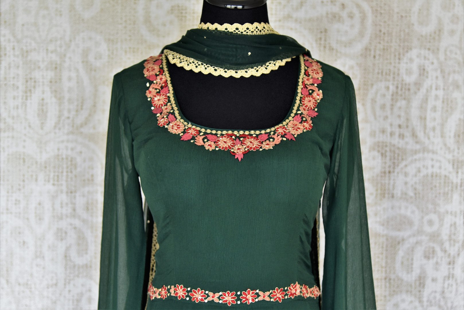 Buy dark green embroidered chiffon georgette Anarkali suit online in USA with dupatta. Make your Indian clothing collection exquisite with beautiful Indian designer dresses, Anarkali suits available at Pure Elegance clothing store in USA or shop online.-suit front