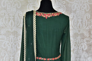 Buy dark green embroidered chiffon georgette Anarkali suit online in USA with dupatta. Make your Indian clothing collection exquisite with beautiful Indian designer dresses, Anarkali suits available at Pure Elegance clothing store in USA or shop online.-suit back