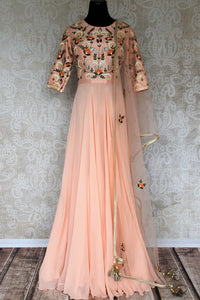 Buy peach embroidered floor length Anarkali suit online in USA with dupatta. Make your Indian clothing collection exquisite with beautiful Indian designer dresses, Anarkali suits available at Pure Elegance clothing store in USA or shop online.-full view