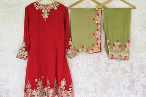 Buy red and green embroidered georgette salwar suit online in USA and dupatta from Pure Elegance Indian fashion store in USA. Make a stylish fashion statement this summer with a range of exquisite Indian designer suits available online and at our clothing store in USA. Shop now.-back