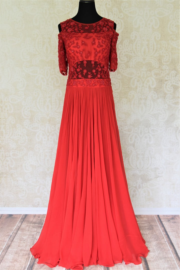 Buy red embroidered georgette dress online in USA. Add style to your look with Indian designer dresses available at Pure Elegance Indian fashion store in USA or shop online.-full view