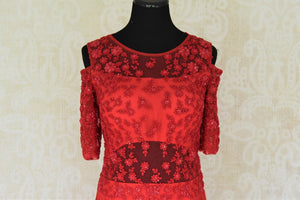 Buy red embroidered georgette dress online in USA. Add style to your look with Indian designer dresses available at Pure Elegance Indian fashion store in USA or shop online.-front