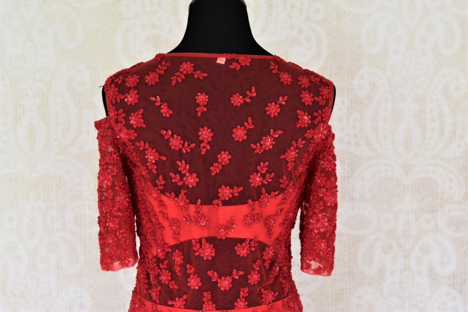 Buy red embroidered georgette dress online in USA. Add style to your look with Indian designer dresses available at Pure Elegance Indian fashion store in USA or shop online.-back