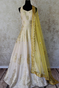 Buy white gota patti embroidery muga Banarasi suit with dupatta online in USA. Adorn your style with a range of exquisite Kanchipuram silk saris from Pure Elegance clothing store in USA. We have an exquisite range of Indian designer sarees, silk sarees, Banarasi saris and many other varieties also available at our online store.-full views