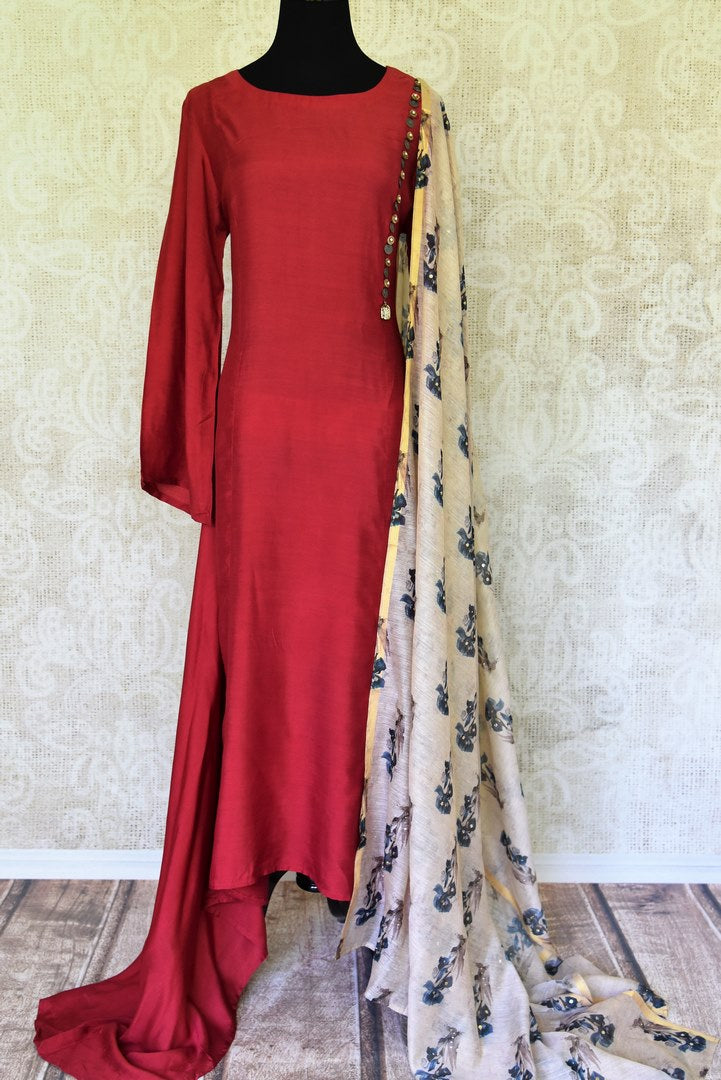 Shop maroon chanderi silk dress online in USA with printed dupatta. If you are fond of Indian fashion then you must visit Pure Elegance Indian clothing store in USA. We have a splendid collection of Indian designer dresses, Indowestern dresses and clothing here for you on our shelves. -full view