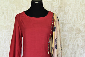Shop maroon chanderi silk dress online in USA with printed dupatta. If you are fond of Indian fashion then you must visit Pure Elegance Indian clothing store in USA. We have a splendid collection of Indian designer dresses, Indowestern dresses and clothing here for you on our shelves. -top