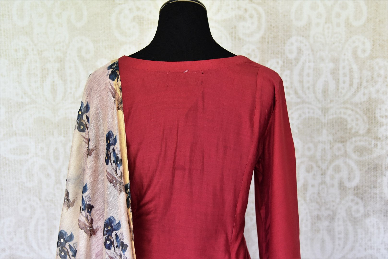 Shop maroon chanderi silk dress online in USA with printed dupatta. If you are fond of Indian fashion then you must visit Pure Elegance Indian clothing store in USA. We have a splendid collection of Indian designer dresses, Indowestern dresses and clothing here for you on our shelves. -back