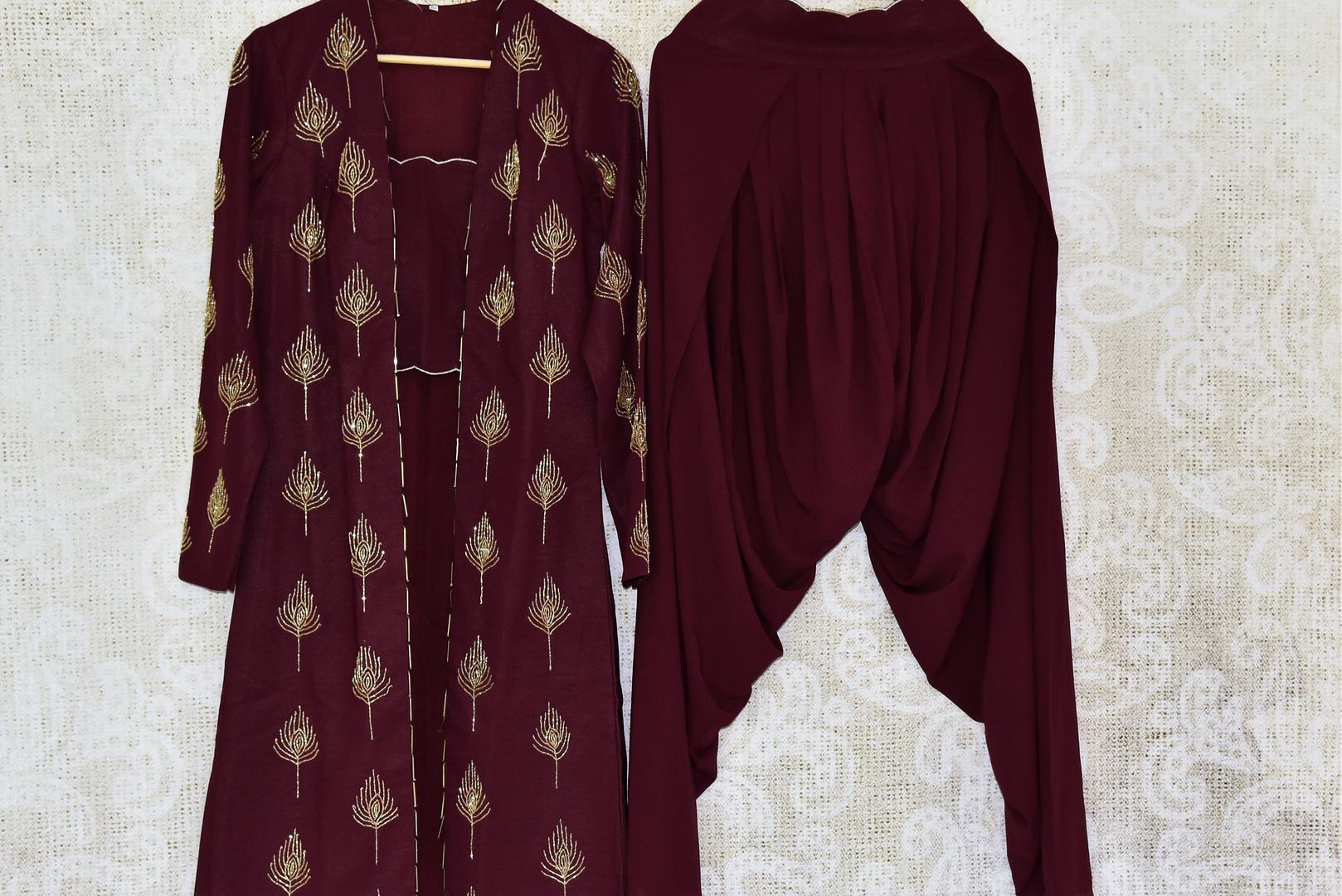 Buy wine color georgette suit with hand embroidery online in USA. If you are fond of Indian fashion then you must visit Pure Elegance Indian clothing store in USA. We have a splendid collection of Indian designer dresses, Indowestern dresses and clothing here for you on our shelves. -full view 2