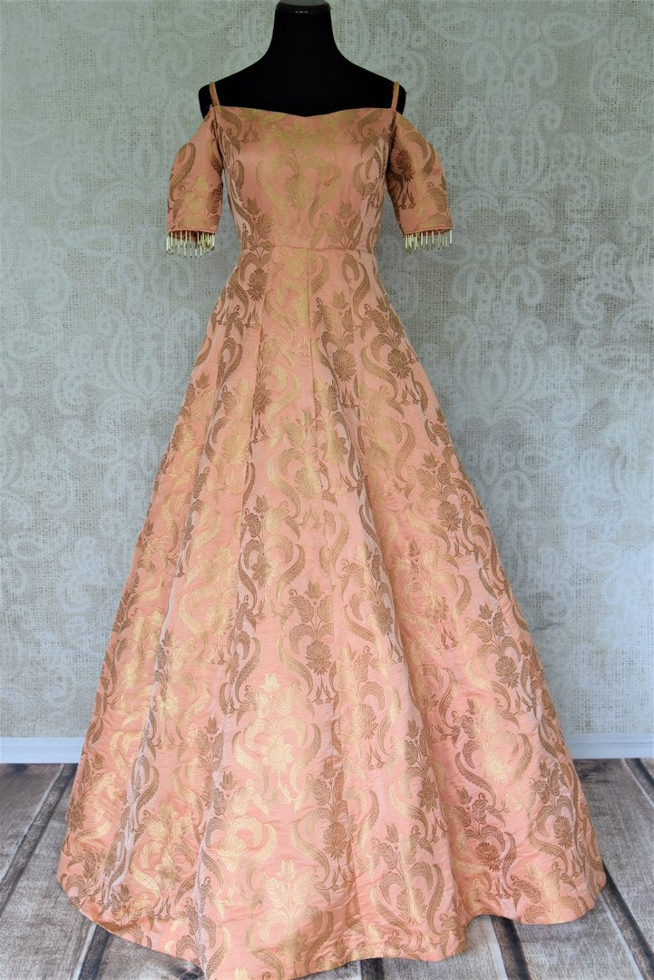 Buy beautiful peach Banarasi silk designer gown online in USA. Add brilliance to your Indian look with alluring Indian designer wedding dresses available at Pure Elegance Indian clothing store for women in USA or shop online.-full view