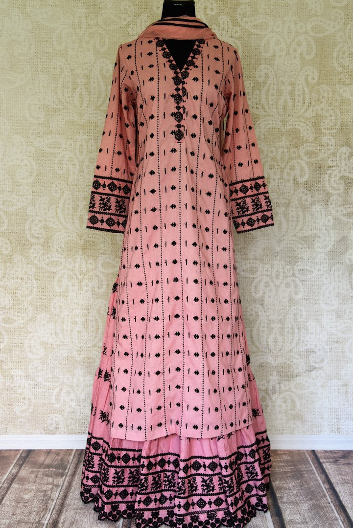 Buy pink embroidered cotton kurta with skirt and dupatta online in USA. Enhance your ethnic style on special occasions with a splendid range of Indian designer clothes, sarees for women available at Pure Elegance fashion store in USA.-full view