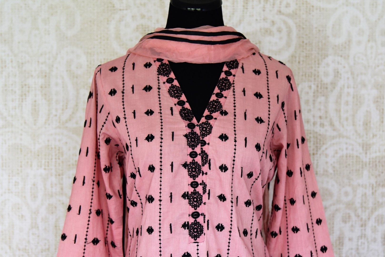 Buy pink embroidered cotton kurta with skirt and dupatta online in USA. Enhance your ethnic style on special occasions with a splendid range of Indian designer clothes, sarees for women available at Pure Elegance fashion store in USA.-front