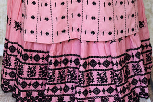 Buy pink embroidered cotton kurta with skirt and dupatta online in USA. Enhance your ethnic style on special occasions with a splendid range of Indian designer clothes, sarees for women available at Pure Elegance fashion store in USA.-skirt