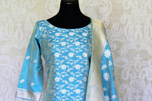 Buy light blue pure handloom Banarasi suit online in USA with dupatta. If you are fond of Indian fashion then you must visit Pure Elegance Indian clothing store in USA. We have a splendid collection of Indian designer dresses, Indowestern dresses and clothing here for you on our shelves. -front