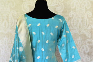 Buy light blue pure handloom Banarasi suit online in USA with dupatta. If you are fond of Indian fashion then you must visit Pure Elegance Indian clothing store in USA. We have a splendid collection of Indian designer dresses, Indowestern dresses and clothing here for you on our shelves. -back