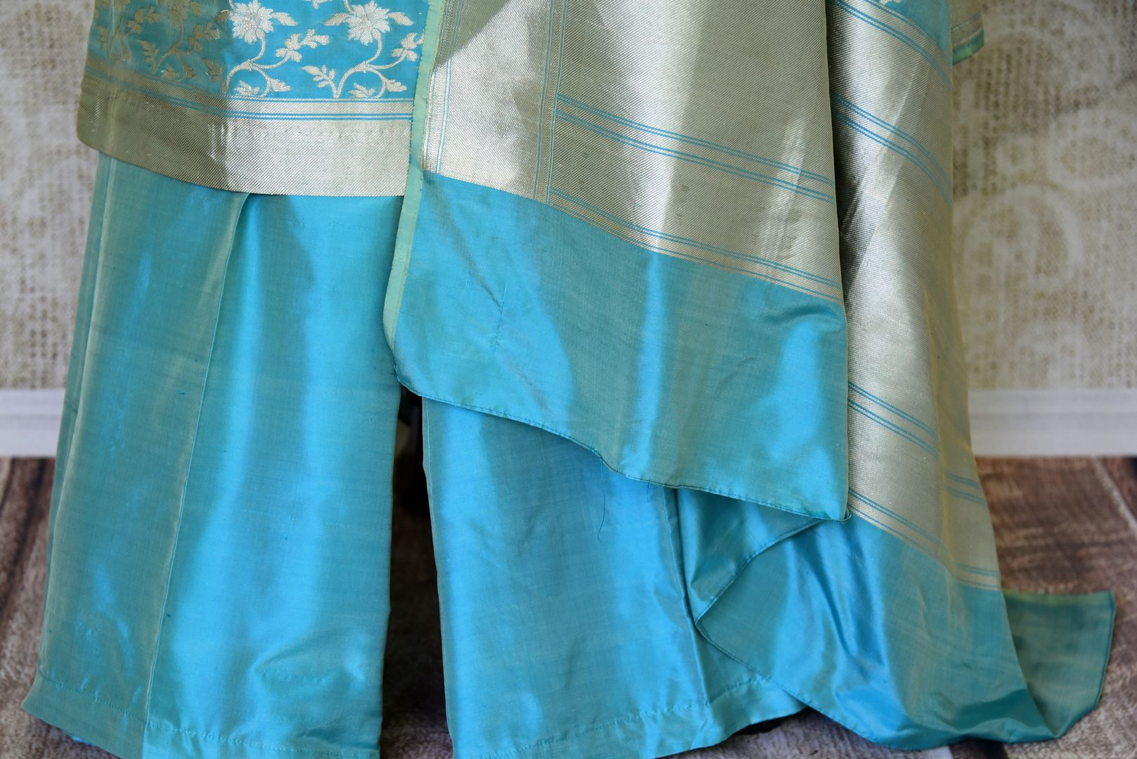 Buy light blue pure handloom Banarasi suit online in USA with dupatta. If you are fond of Indian fashion then you must visit Pure Elegance Indian clothing store in USA. We have a splendid collection of Indian designer dresses, Indowestern dresses and clothing here for you on our shelves. -palazzo