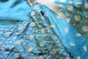 Buy light blue pure handloom Banarasi suit online in USA with dupatta. If you are fond of Indian fashion then you must visit Pure Elegance Indian clothing store in USA. We have a splendid collection of Indian designer dresses, Indowestern dresses and clothing here for you on our shelves. -details
