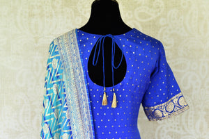 Buy turquoise blue Banarasi georgette salwar suit online in USA and dupatta from Pure Elegance Indian fashion store in USA. Make a stylish fashion statement this summer with a range of exquisite Indian designer dresses available online and at our clothing store in USA. Shop now.-back