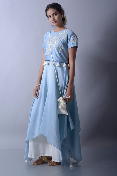 501815D Island Blue Handkerchief Kurta with Crop Top and Palazzo
