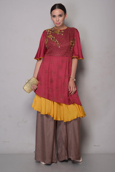 Buy wine embroidered satin kurta online in USA with palazzo. To buy more such exquisite Indian designer dresses in USA, shop at Pure Elegance Indian clothing store in USA or shop online.-full view