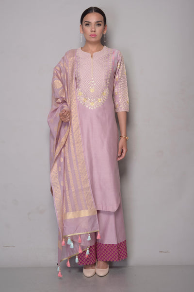 Buy mauve gota patti chanderi suit with palazzo online in USA and dupatta. To buy more such exquisite Indian designer suits in USA, shop at Pure Elegance Indian fashion store for women in USA or shop online.-full view
