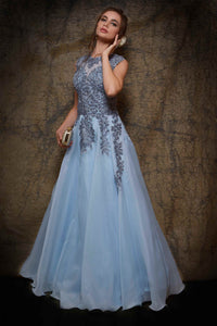 Buy sky blue organza gown online in USA with grey embroidery. To buy more such exquisite Indian designer wedding gowns in USA, shop at Pure Elegance Indian fashion store for women in USA or shop online.-full view