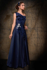 Buy navy blue embroidered one-shoulder satin bridal gown online in USA. Bring glamor to your wedding look with elegant designer wedding gowns, wedding dresses available at Pure Elegance Indian clothing store for women in USA or shop online.-full view