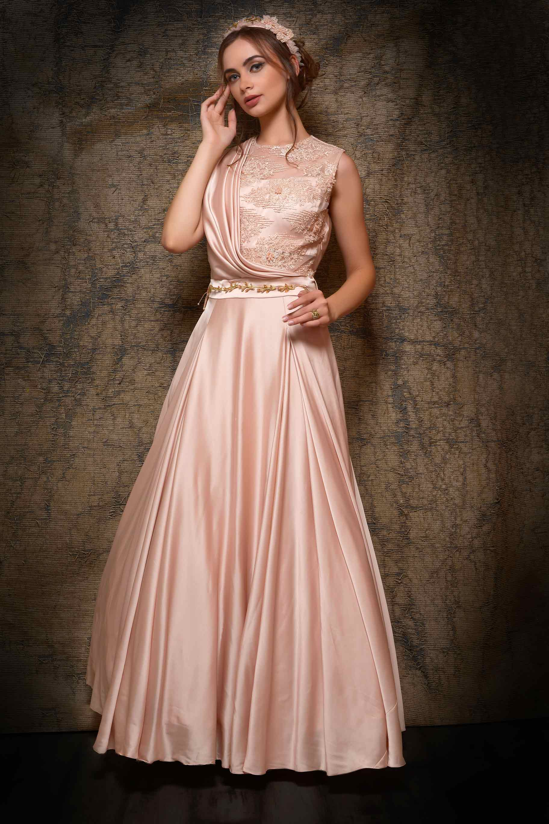 Shop cream satin bridal gown online in USA with embroidered net. Bring glamor to your wedding look with elegant designer wedding gowns, wedding dresses available at Pure Elegance Indian clothing store for women in USA or shop online.-full view