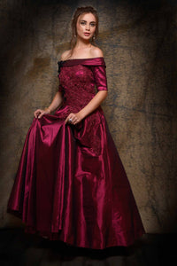 501829D Wine Color Embroidered Off Shoulder Designer Bridal Gown