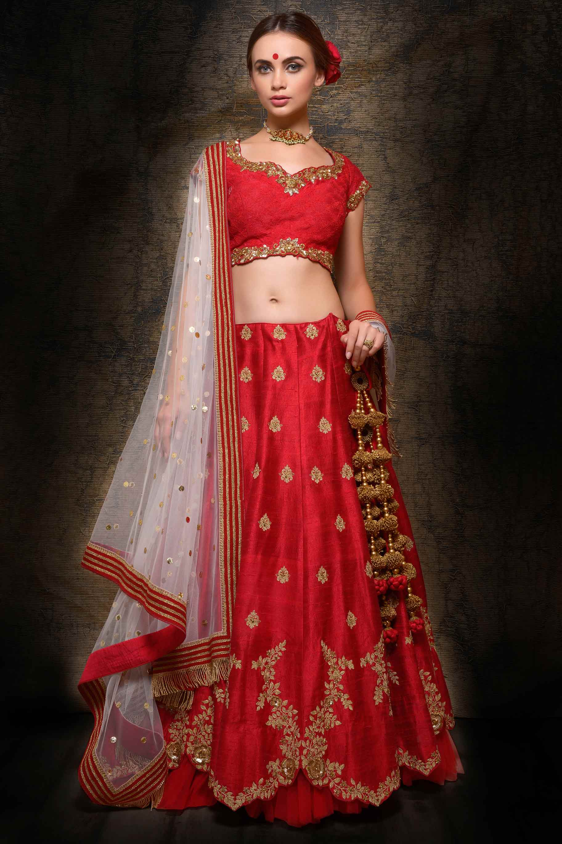 Buy rose red raw silk embroidered lehenga with dupatta online in USA. Make your wedding trousseau complete with exquisite Indian designer wedding lehengas from Pure Elegance Indian clothing store for women in USA or shop online.-full view