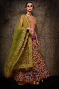 Buy wine velvet dori work lehenga with dupatta online in USA. Make your wedding trousseau complete with exquisite Indian designer bridal lehengas from Pure Elegance Indian clothing store for women in USA or shop online.-full view