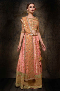 Buy pink embroidered lehenga choli with dupatta online in USA. Make your wedding trousseau complete with exquisite Indian designer bridal lehengas, bridal sarees from Pure Elegance Indian clothing store for women in USA or shop online.-full view