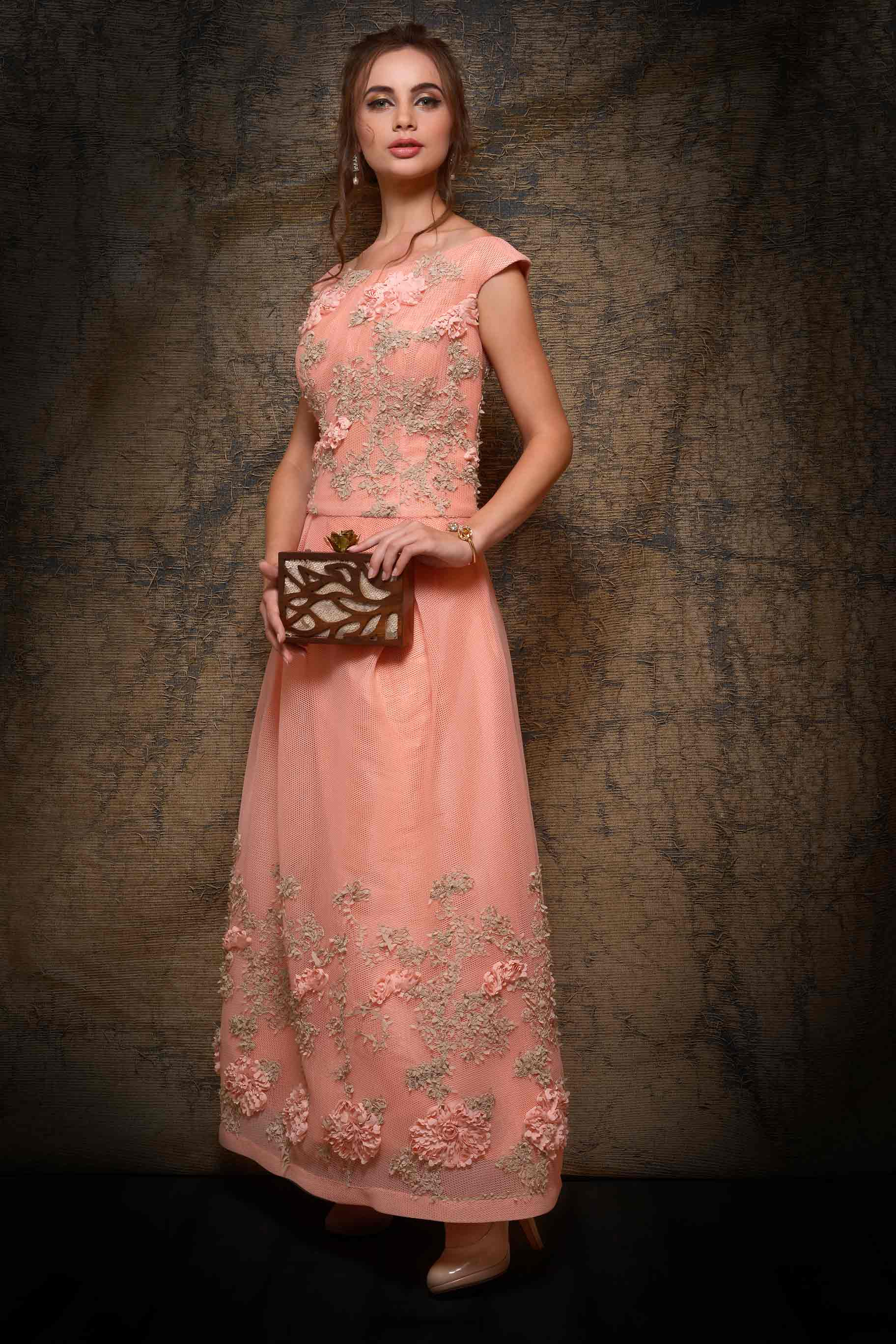 Shop elegant peach neoprene designer dress online in USA. Make your Indian look stylish with exquisite Indian designer dresses from Pure Elegance Indian clothing store for women in USA or shop online.-full view