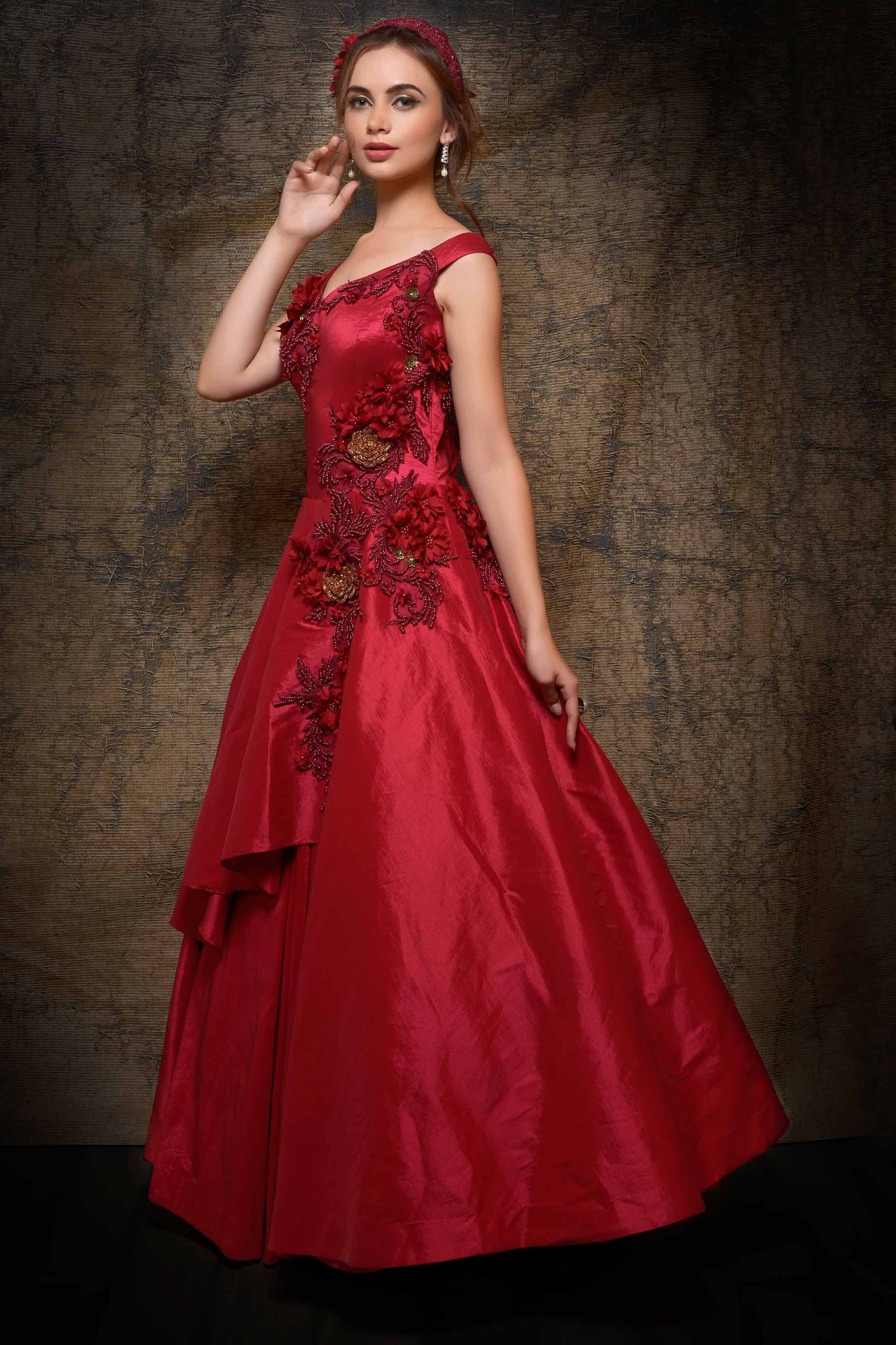 Shop rose red embroidered satin silk designer gown online in USA. Make your Indian look stylish with exquisite Indian designer dresses from Pure Elegance Indian clothing store for women in USA or shop online.-full view