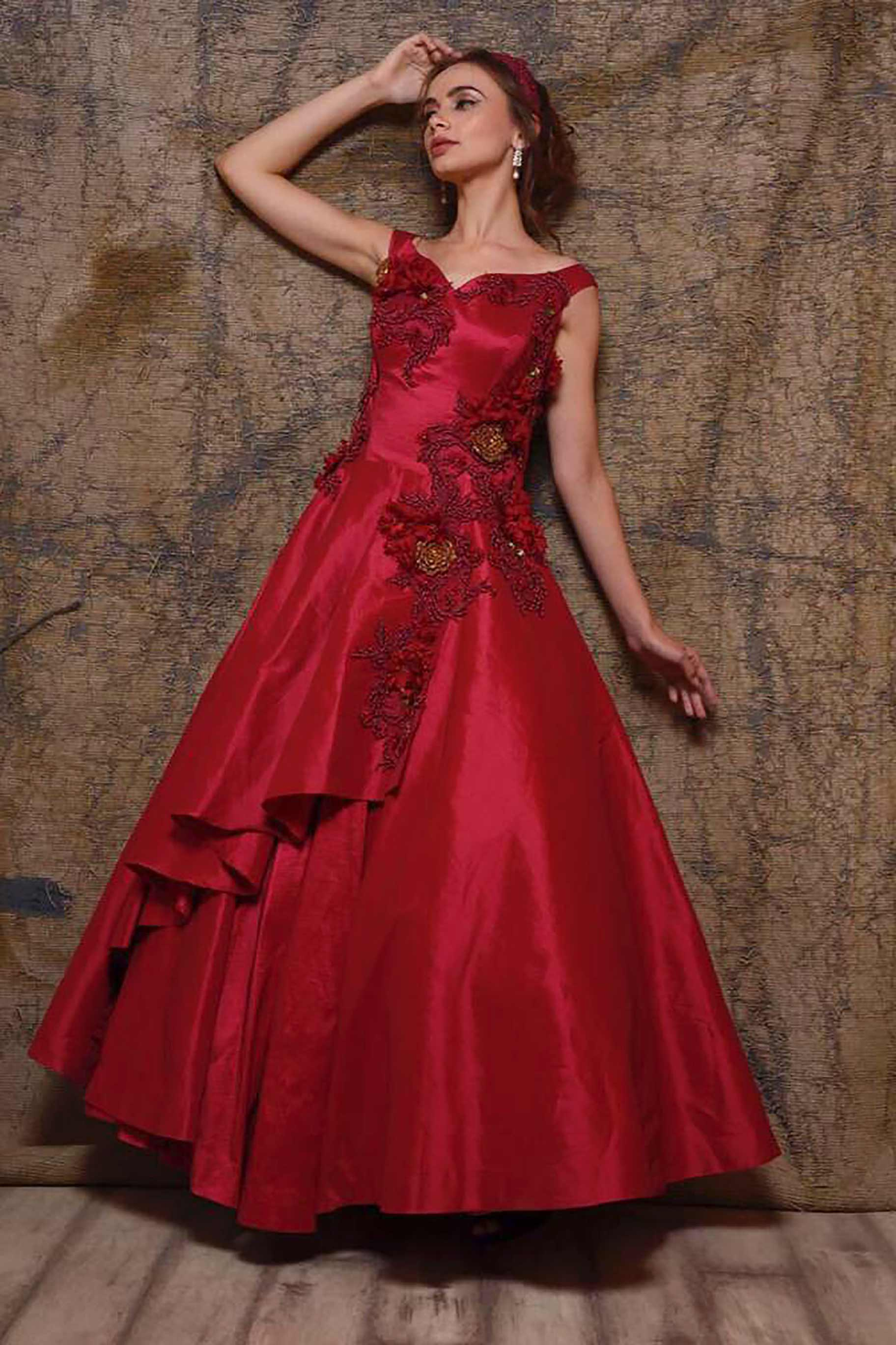 Shop rose red embroidered satin silk designer gown online in USA. Make your Indian look stylish with exquisite Indian designer dresses from Pure Elegance Indian clothing store for women in USA or shop online.-front view