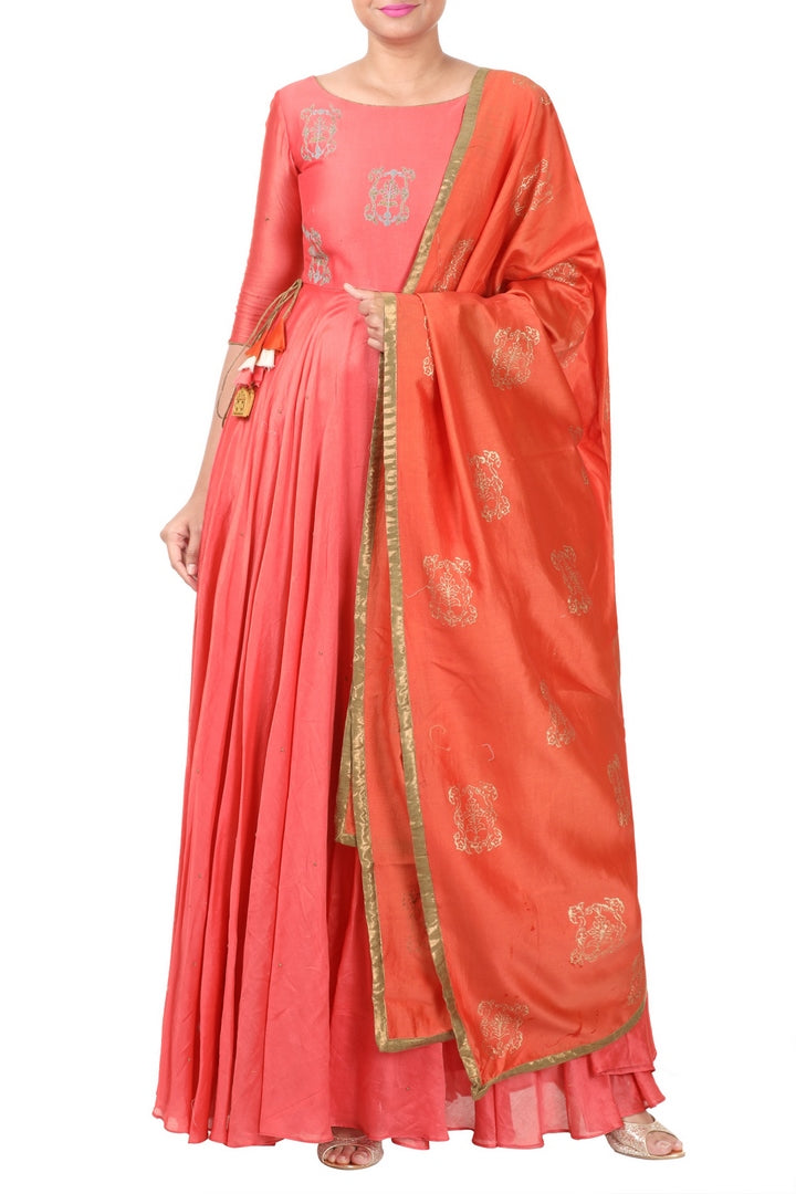 Buy designer rouge pink embroidered Anarkali suit online in USA with dupatta. Add elegance to your ethnic look with exquisite Indian designer suits available at Pure Elegance Indian clothing store in USA or shop online.-full view