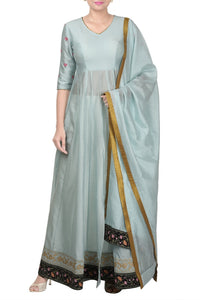 Buy elegant pastel blue Anarkali suit online in USA with dupatta and grey pants. Add elegance to your ethnic look with exquisite Indian designer suits, Indian party dresses available at Pure Elegance clothing store in USA or shop online.-full view